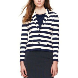 Tory Burch Augusta Navy Blue Ivory Striped Blazer
